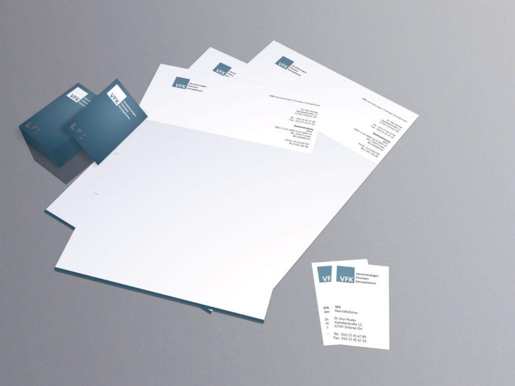 Werbeagentur VFK Drucksachen Geschäftspapier