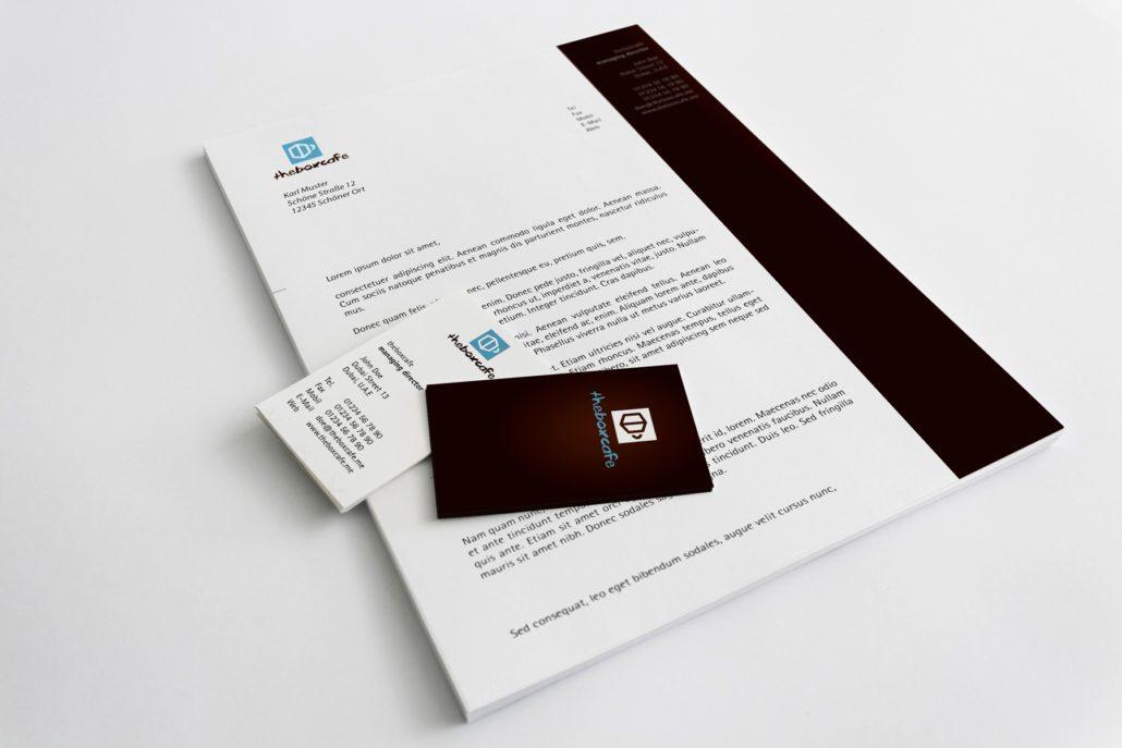 theboxcafe Logoentwicklung Drucksachen Geschäftspapier