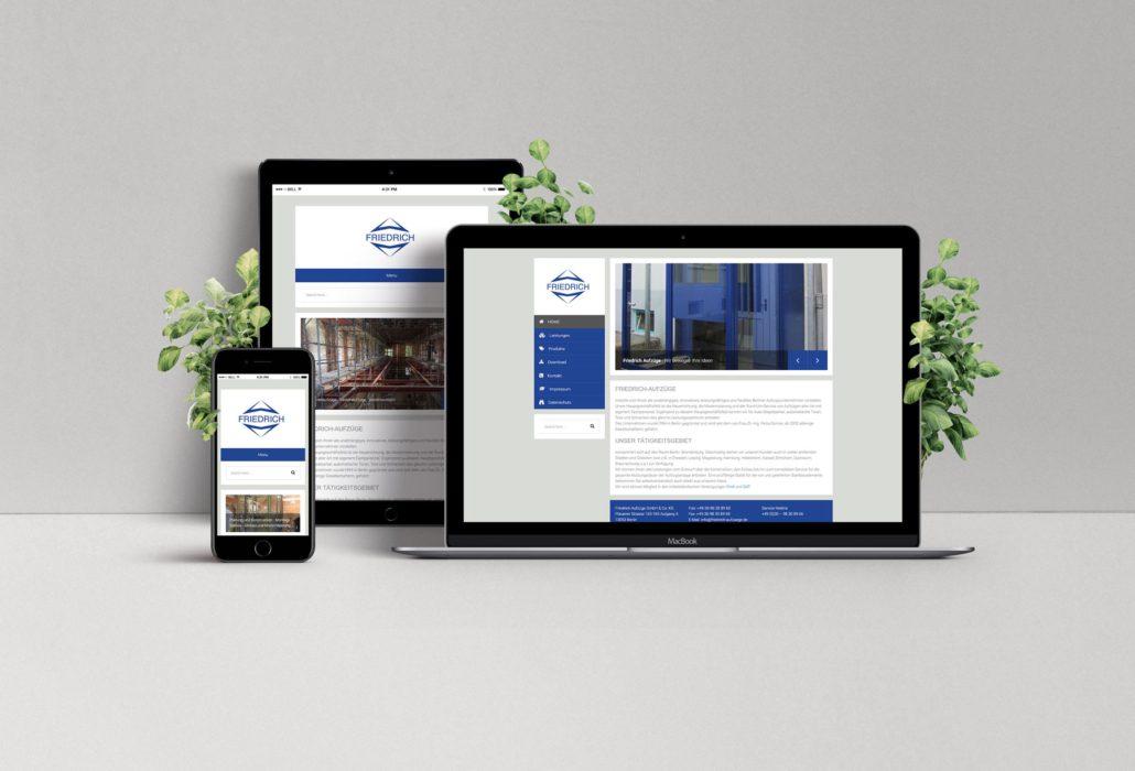 Friedrich Aufzüge Webdesign